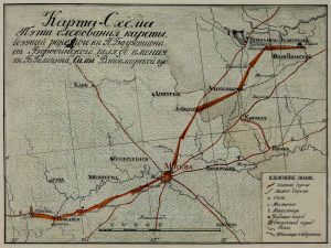 Карта - схема пути следования раненного Багратиона в 1812 году