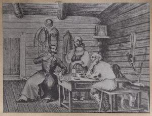 «Ополченец в крестьянской семье». Неизвестный художник. Копия