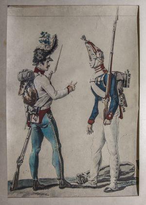 Солдат Павловского полка и прусский солдат. Неизвестный художник. XIХ век. Копия