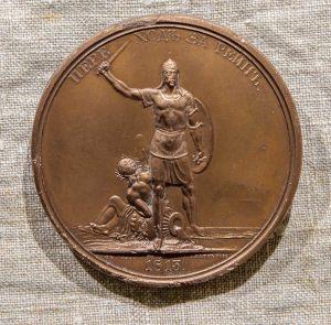 Копия медали из серии в честь победы русской армии над французскими захватчиками: «Переход через Рейн»