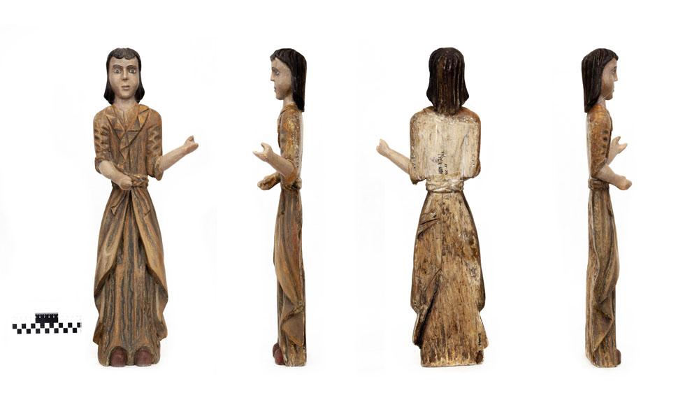 Скульптура. Фигура резная, деревянная, в рост. XIX в. Дерево, левкас, темпера