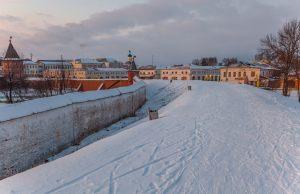 Вечернее фото. Вид на город. Юрьев-Польский музей. Территория. Зимнее фото