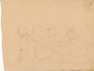 Новосельский В Н  Группа солдат  Набросок карандашом 1944 г