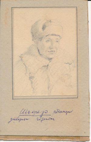 Новосельский В Н  Шофер редакции дивизионной газеты Набросок карандашом 1944 г