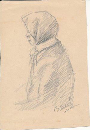 Новосельский В Н Валя Набросок карандашом 1944 г