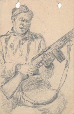 Новосельский В Н Солдат с винтовкой  Набросок карандашом на блокнотном листе 1944 г