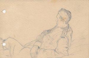 Новосельский В Н Фронтовые наброски Набросок карандашом на блокнотном листе 1944 г