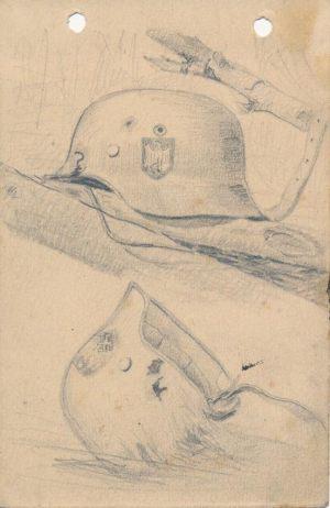 Новосельский В Н Фронтовые наброски Натюрморт с немецкими касками На блокнотном листе 1944 г