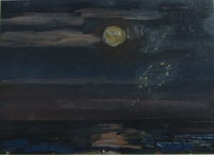 Лунный блик. Бумага, масло. 1979 г.