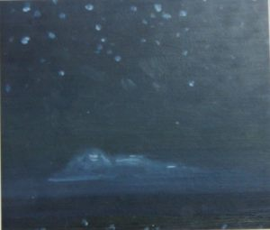 Ночь на море. Картон, масло. 1991 г.