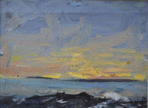 Рассвет над морем. Пейзаж. Бумага, масло. 2000 г.