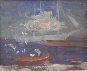 У моря (этюд). Пейзаж. Картон, масло. 1984 г.